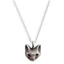 Cat pendant necklace silver