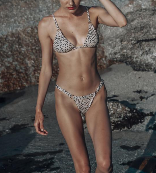 Bikini with ring detail - nude leopard