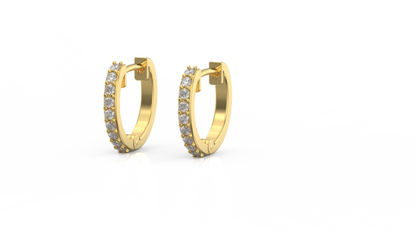 9ct Yellow gold Huggies with stones