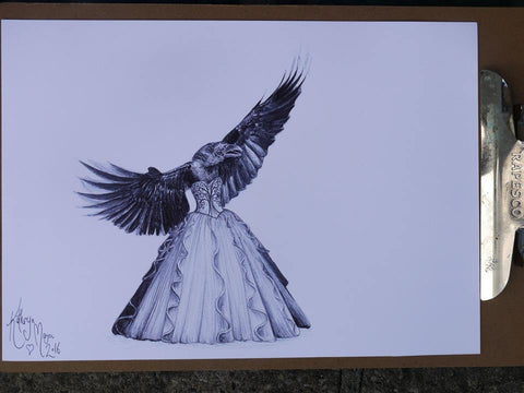 'Crow in a corst gown' original drawing