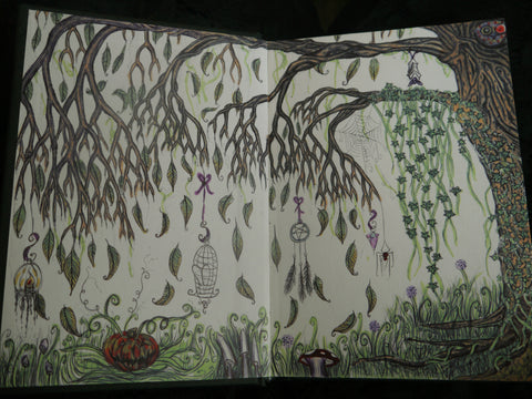 Photo of double page sketchbook tree drawing