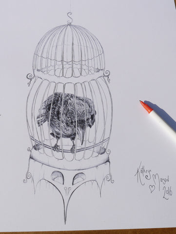 Image of 'Sad' caged crow drawing