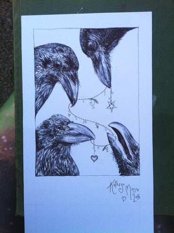 Image of Four crows drawing for day three of inktober