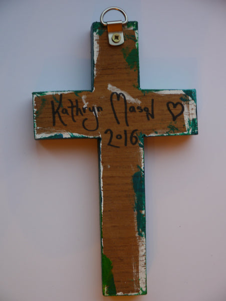Rear view of hand signed Hydra wall cross