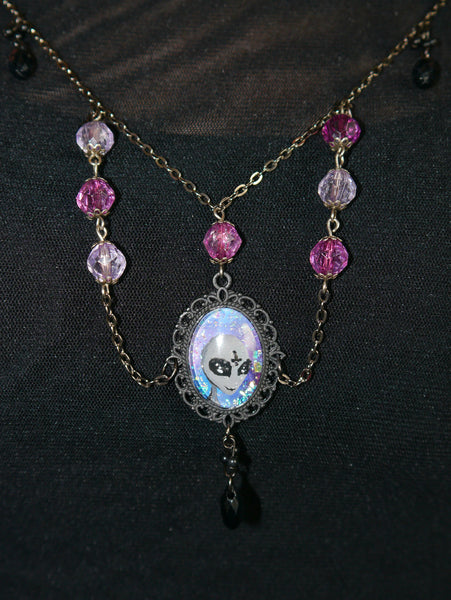 Image of drop on alien pendant necklace