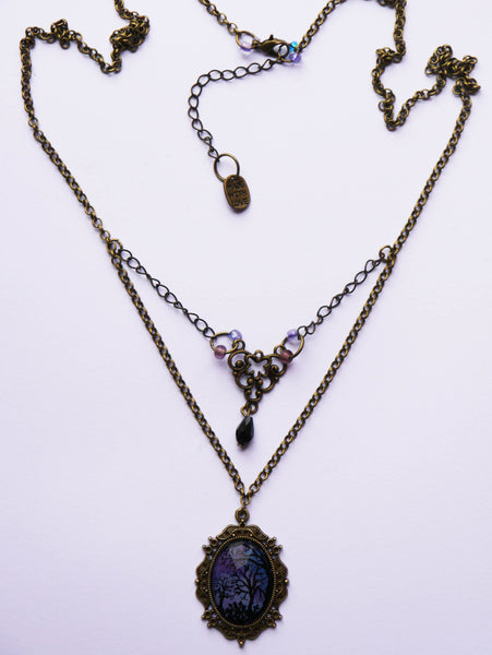 Full view of antique style cmetary gates graveyard necklace