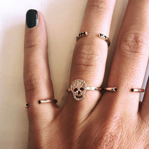 Skull Ring -14K gold with Diamond - Just Believe Jewelry
