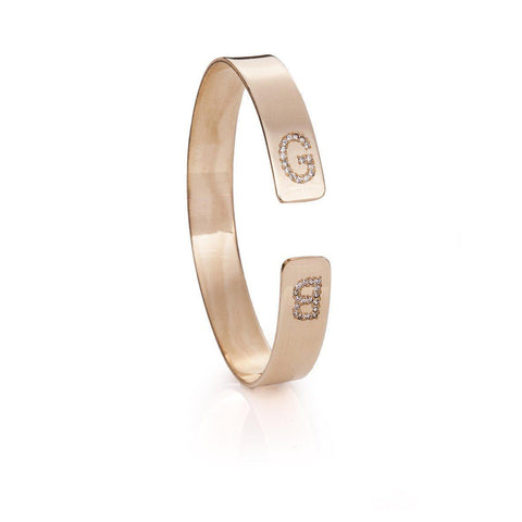 Cuff Bracelet Inlaid Letters