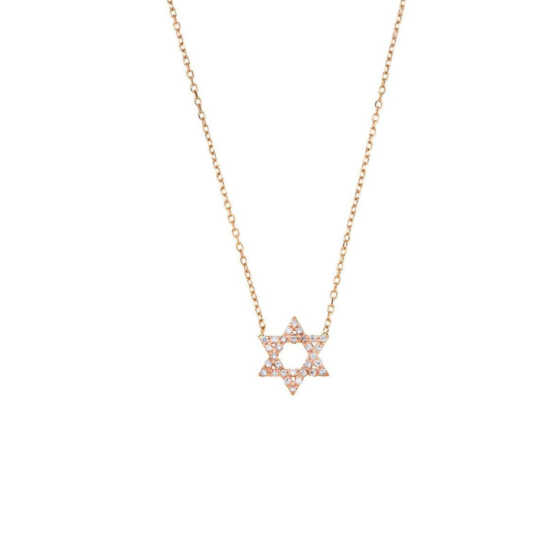 David Star Necklace- 14K gold with Diamond