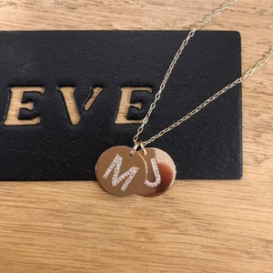 Two coins Necklace with stone letters - Just Believe Jewelry