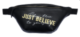 Pouch- Black Leather Bag - Just Believe Jewelry