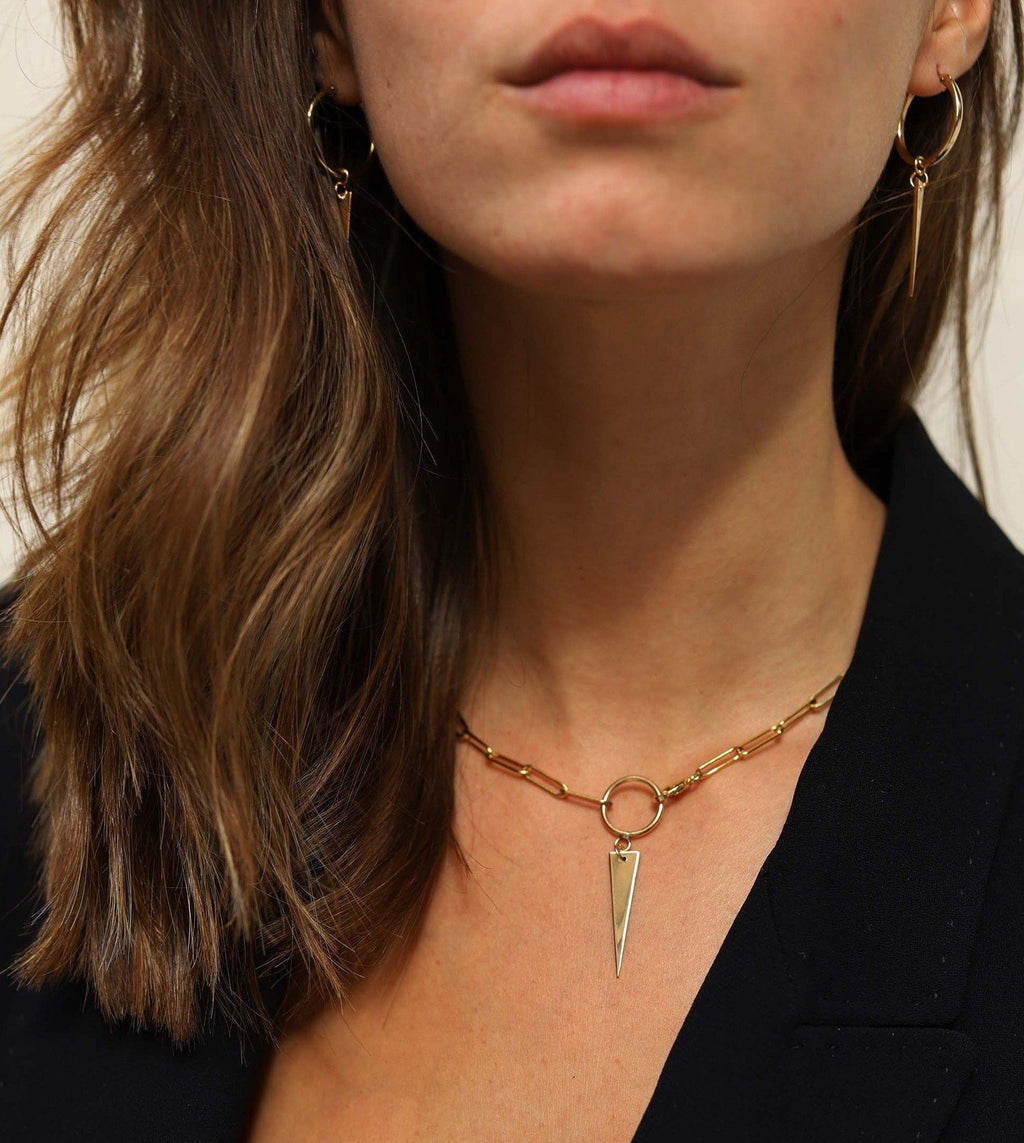 Triangle chunky Necklace - Goldfilled