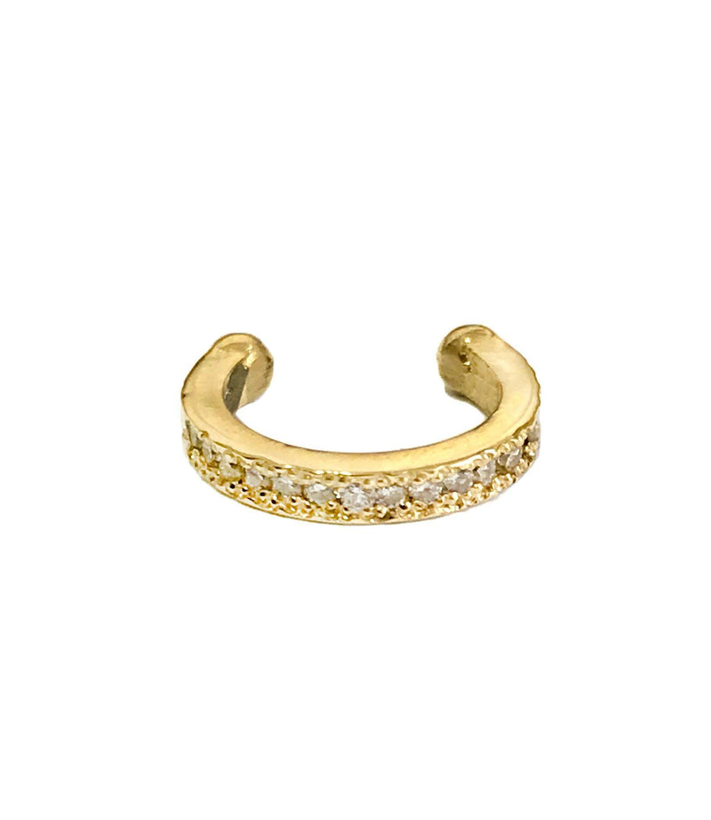 Single Cuff Earring- 14K Gold inlaid with Diamonds - Just Believe Jewelry