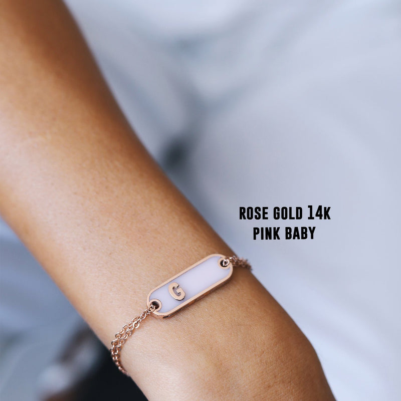 Silvia classic bracelet- Pink baby -Gold 14k