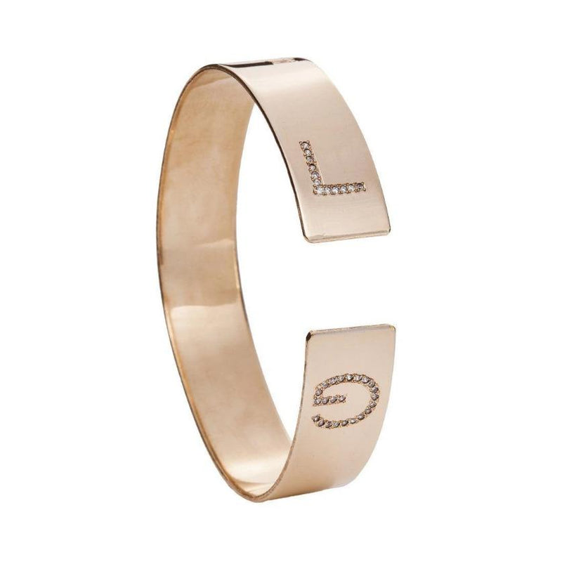 Cuff Bracelet Engraved and Inlaid Letters - Just Believe Jewelry