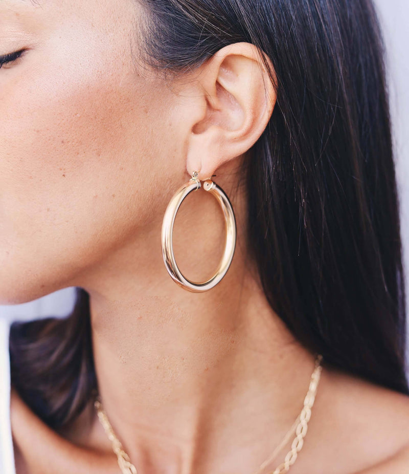 HOOP Earrings - 40mm 14K Gold