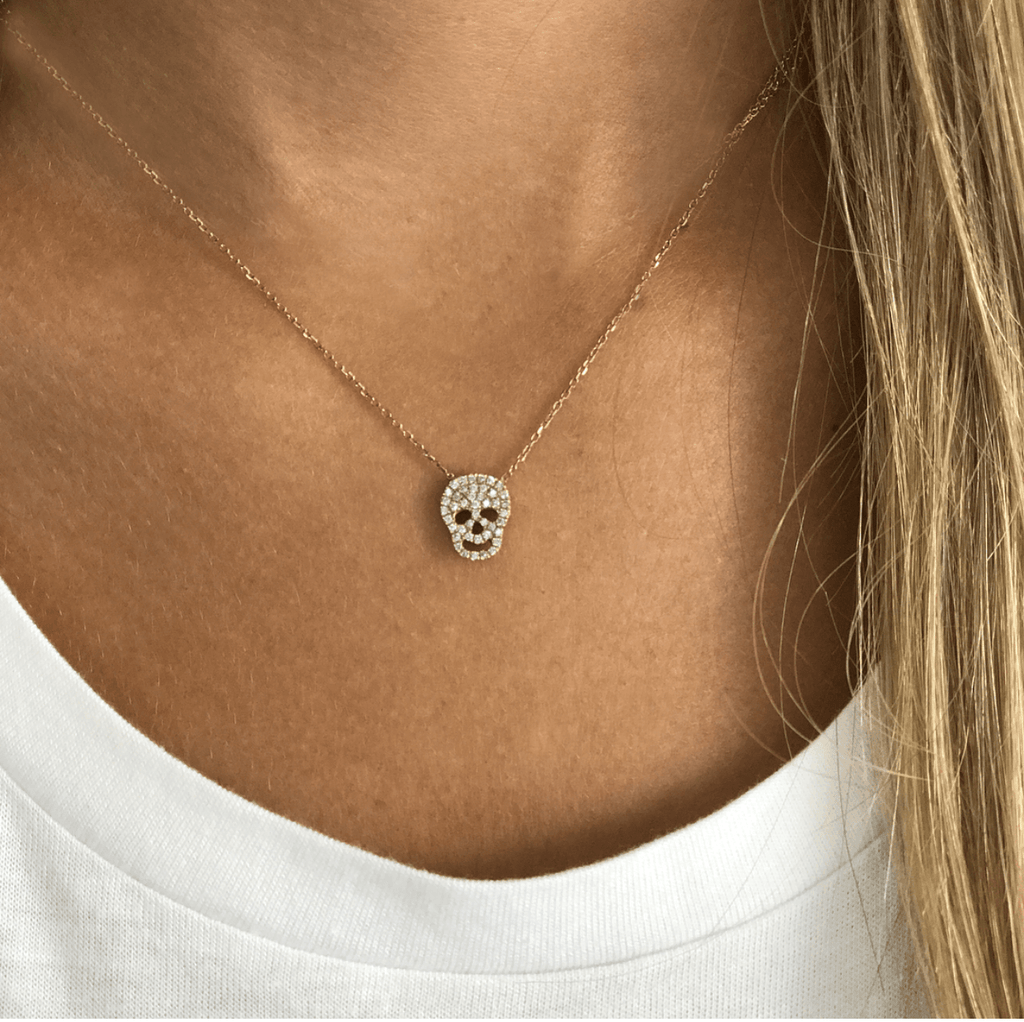 Skull Necklace -14K gold with Diamond - Just Believe Jewelry