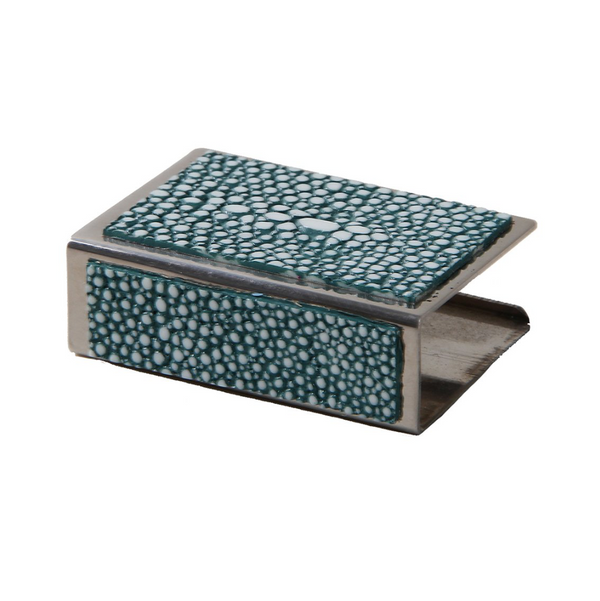 Shagreen Matchbox Holder Small - Teal