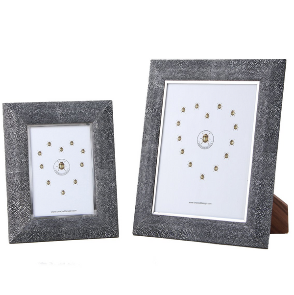 Shagreen Photo Frame - Charcoal Large