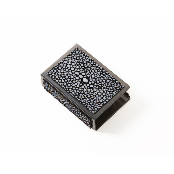Shagreen Matchbox Holder Small  - Charcoal