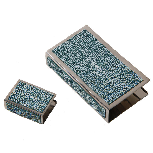 Shagreen Matchbox Holder Large  - Teal