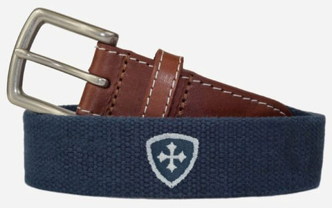 Custom Steward Belt with Leather Trim and Nickel Buckle