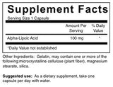 ALA (Alpha Lipoic Acid) - 100 mg (4-Week Supply)