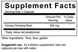 Ginseng - 500 mg (4-Week Supply)