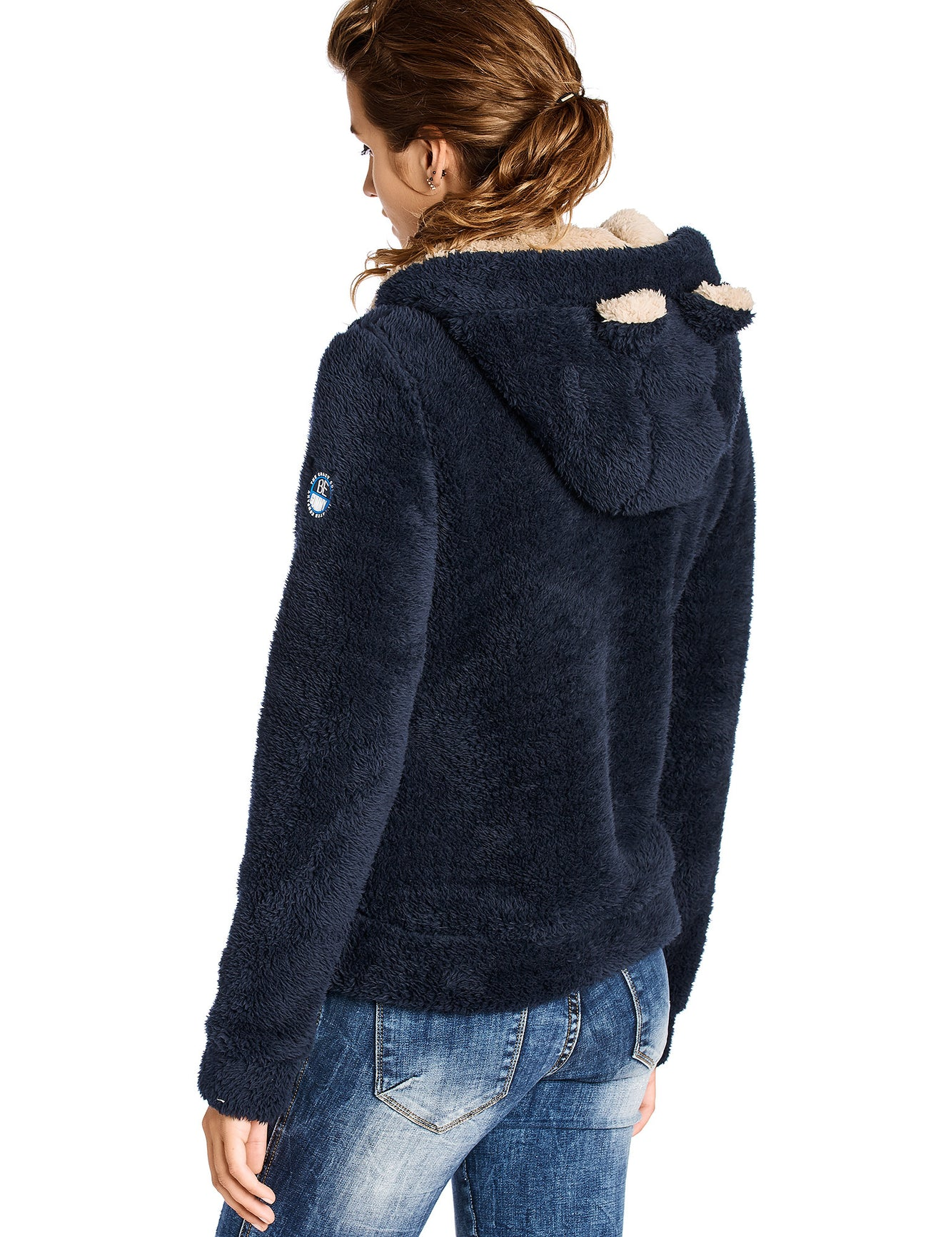 Rocket Blue Beige Contrast Soft Furry Sweater