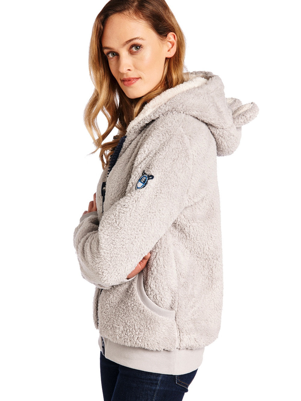 Soft Grey Furry Koala Sweater Women
