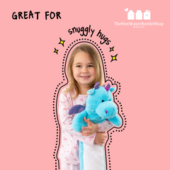Our brand new range of long and cuddly hot water bottles has arrived!   Characters inspired by our best selling classic collection, this new innovative range of Children's Long Hot Water Bottles is perfect for little ones.   Being able to create the perfect product matters to us which is why we researched into the perfect length for our new long hot water bottles. Rather that just putting a cover on and adult sized long hot water bottle and or reducing the width of a regular hot water bottle (as others brands have done!) we took the time to test several sizes. We found that the perfect product length was 70cm - just the right height for cuddling, making sure little ones get warm and cosy sleeps!   Each cover comes with a 56cm rubber hot water bottle that conforms to the current British Standard for hot water bottles 1970:2012.   There are 4 cute characters to choose from: Dexter Dog, Reilly Rabbit, FiFi Unicorn, and Rah Dragon.