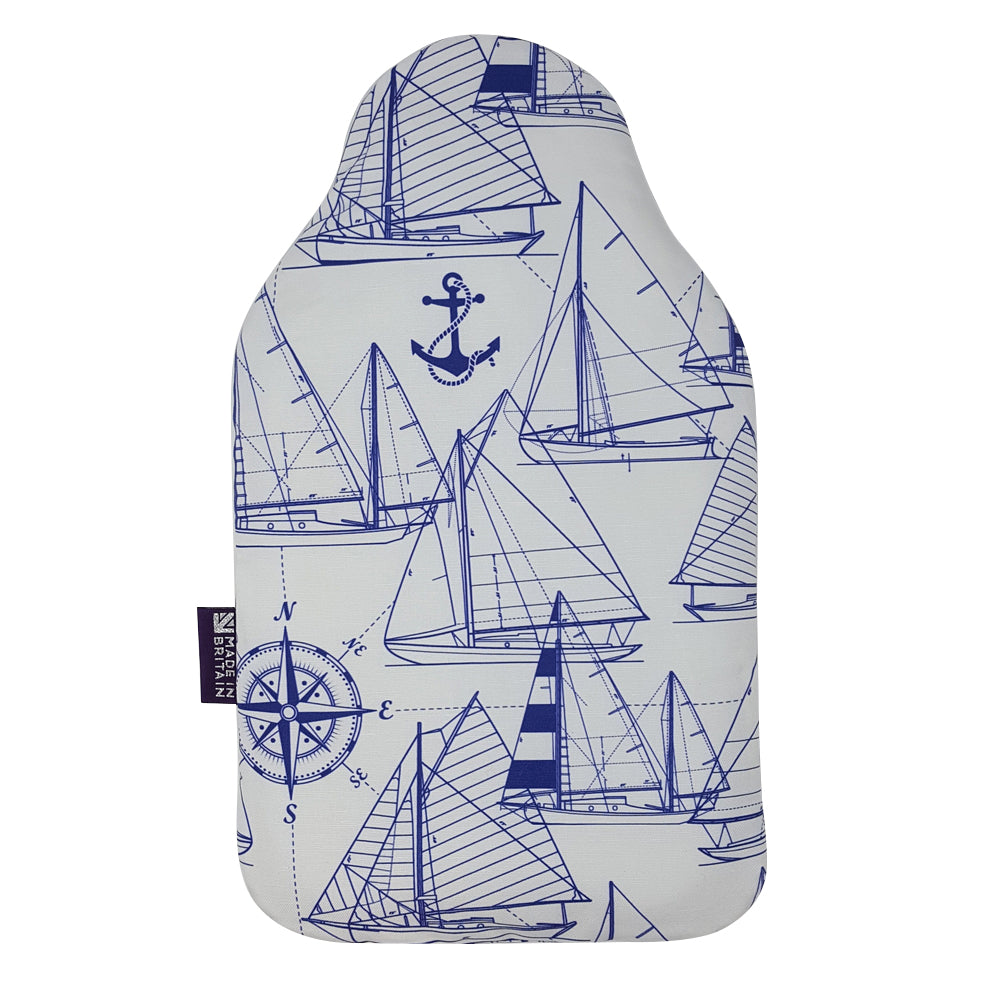 Made In Britain Navy Sailboats Cover & Bottle