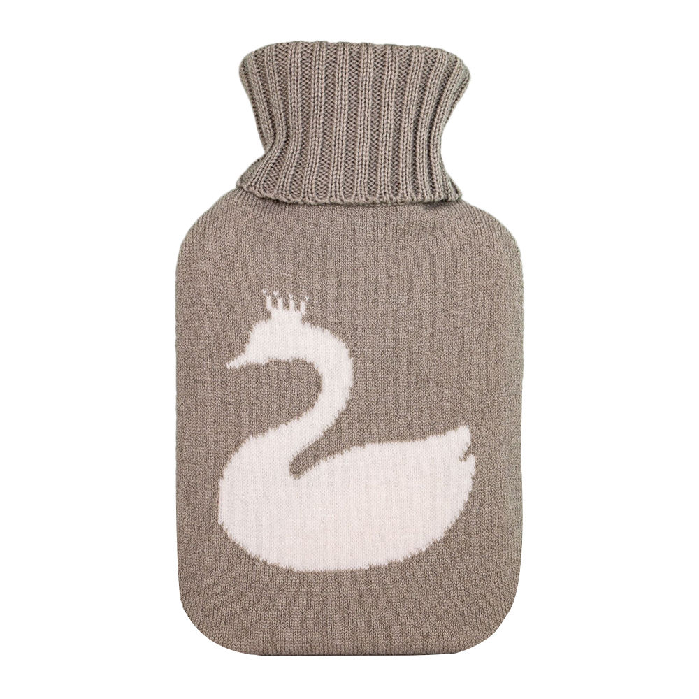 Grey & Cream Swan Small Hot Water Bottle