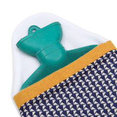 Blue and Mustard Hot Water Bottle Cover and rubber bottle