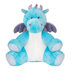 Blue dinosaur hot water bottle toy, front view