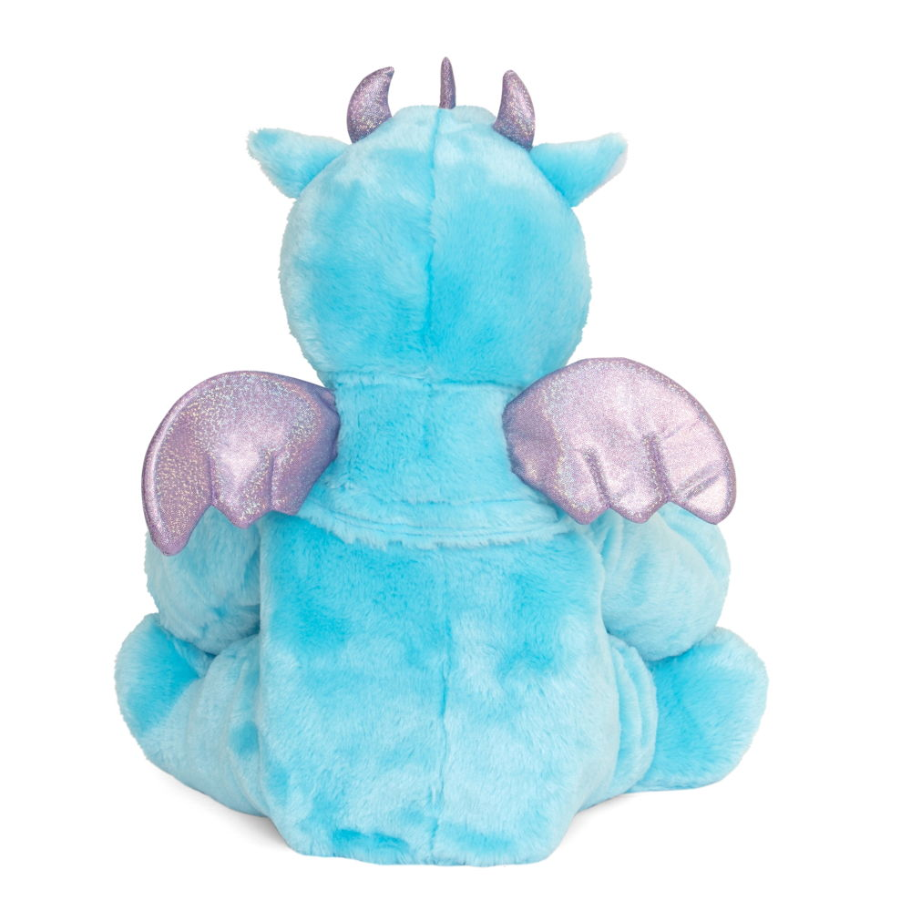 Blue dinosaur hot water bottle toy, back view