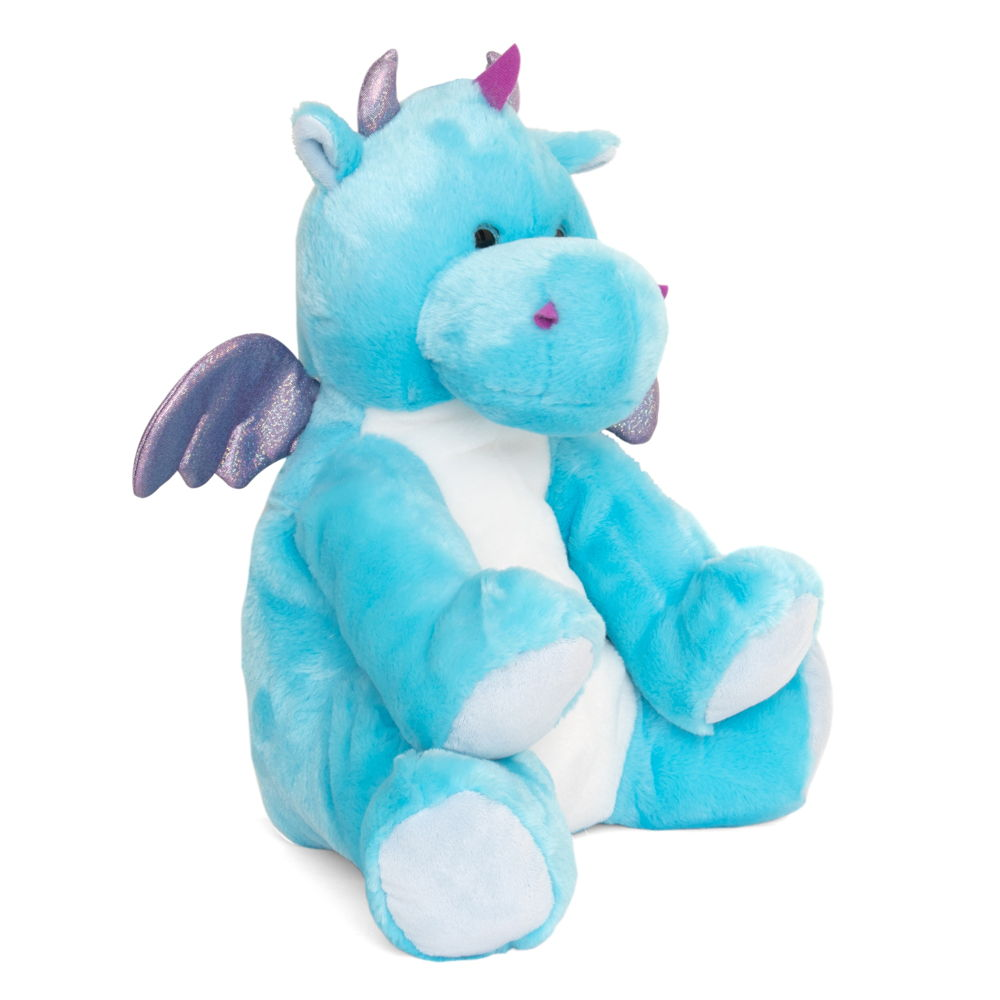 Blue dinosaur hot water bottle toy, angled view