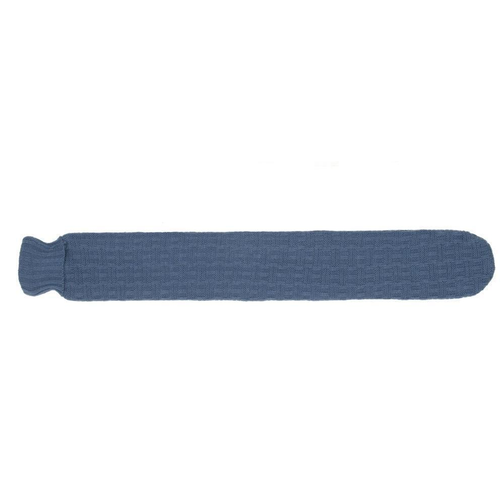 Long Hot Water Bottle navy blue side on shot