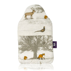 Made in Britain Frosty Winter Woodland Cover & Bottle With Gift Box