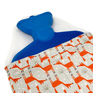 Hot water bottle with fox cover, open cover view
