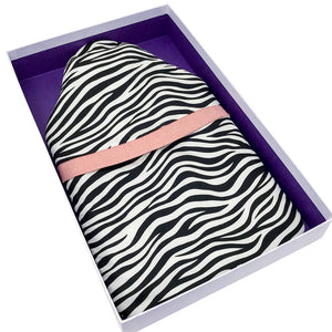 Zebra print hot water bottle cover and rubber bottle and gift box