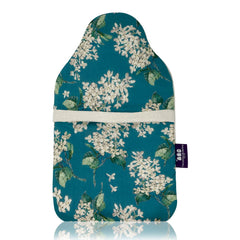 Lilac and cream hot water bottle cover and rubber bottle