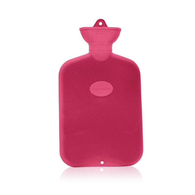 Red Coronation 2 Litre rib 2 sides Rubber hot water bottle