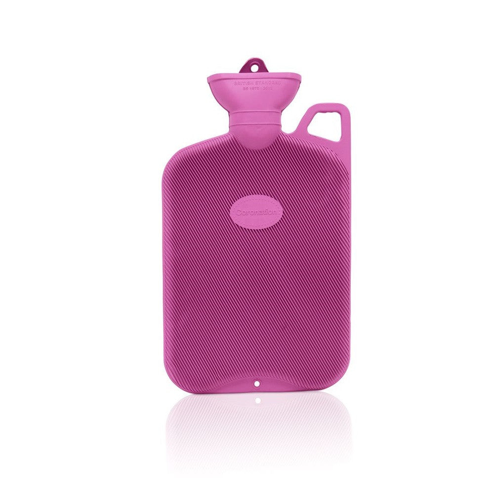 Lilac Crocus Coronation 2 Litre rib 1 sides Rubber hot water bottle with carry handle