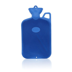 Blue Coronation 2 Litre rib 1 sides Rubber hot water bottle with carry handle