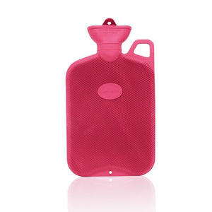 Red Coronation 2 Litre rib 1 sides Rubber hot water bottle with carry handle