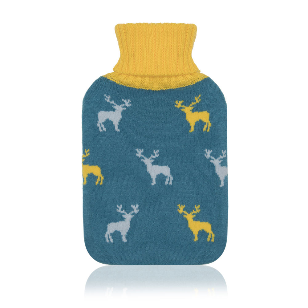 Blue and yellow stags men's knitted hot water bottle
