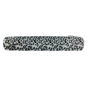 Body Warming Long Hot Water Bottle With Soft Snow Leopard Faux Fur Cover - 2L