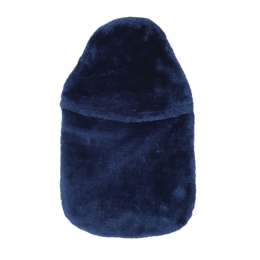Navy fur hot water bottle cover