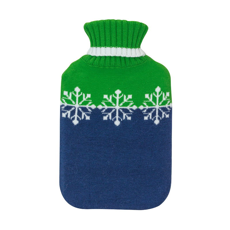 Navy and green snowflakes hot water bottle